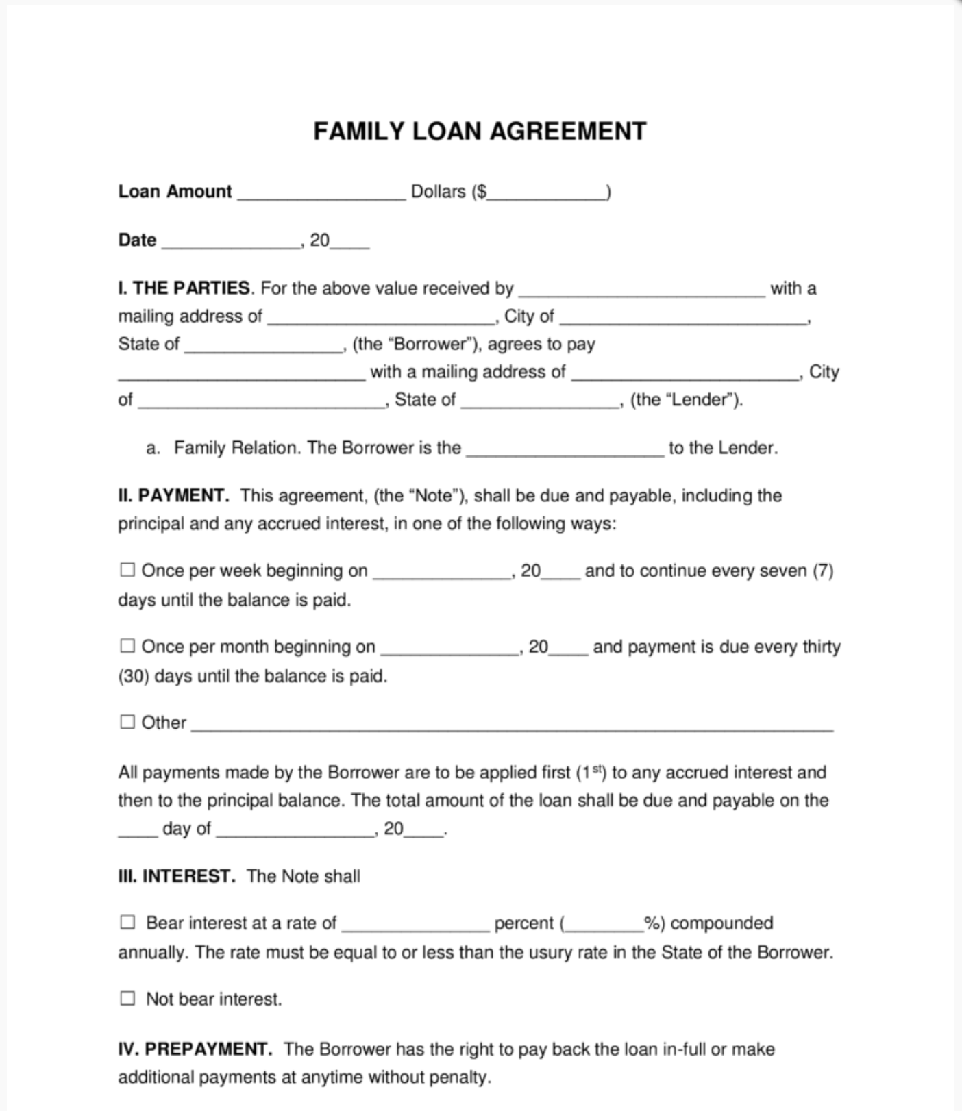 Setting up a Loan Agreement Between Friends and Family   Loanry