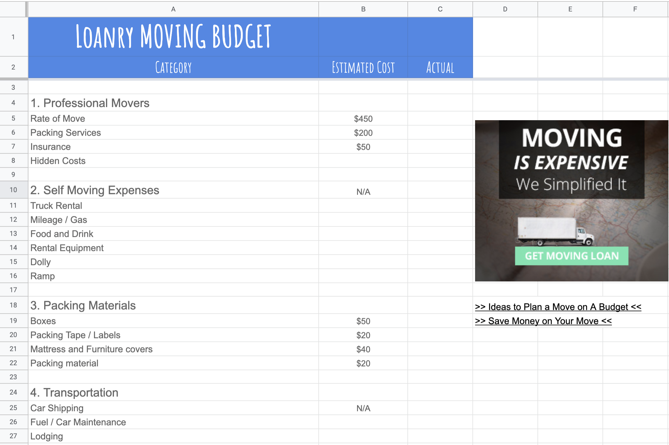 Loanry Moving Budget Free Template