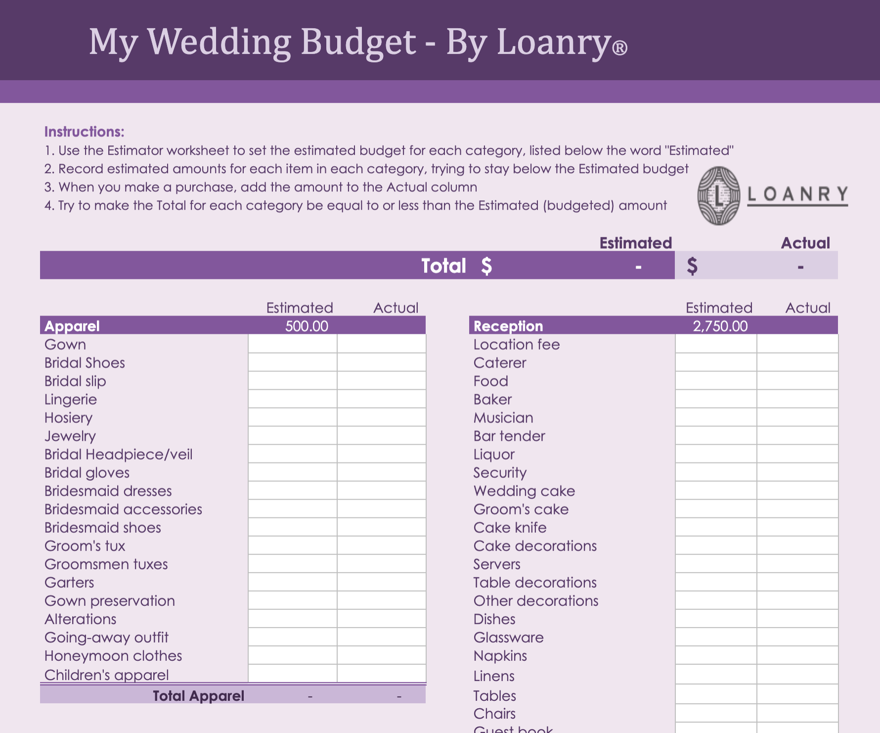 Loanry Wedding Budget WorkSheet