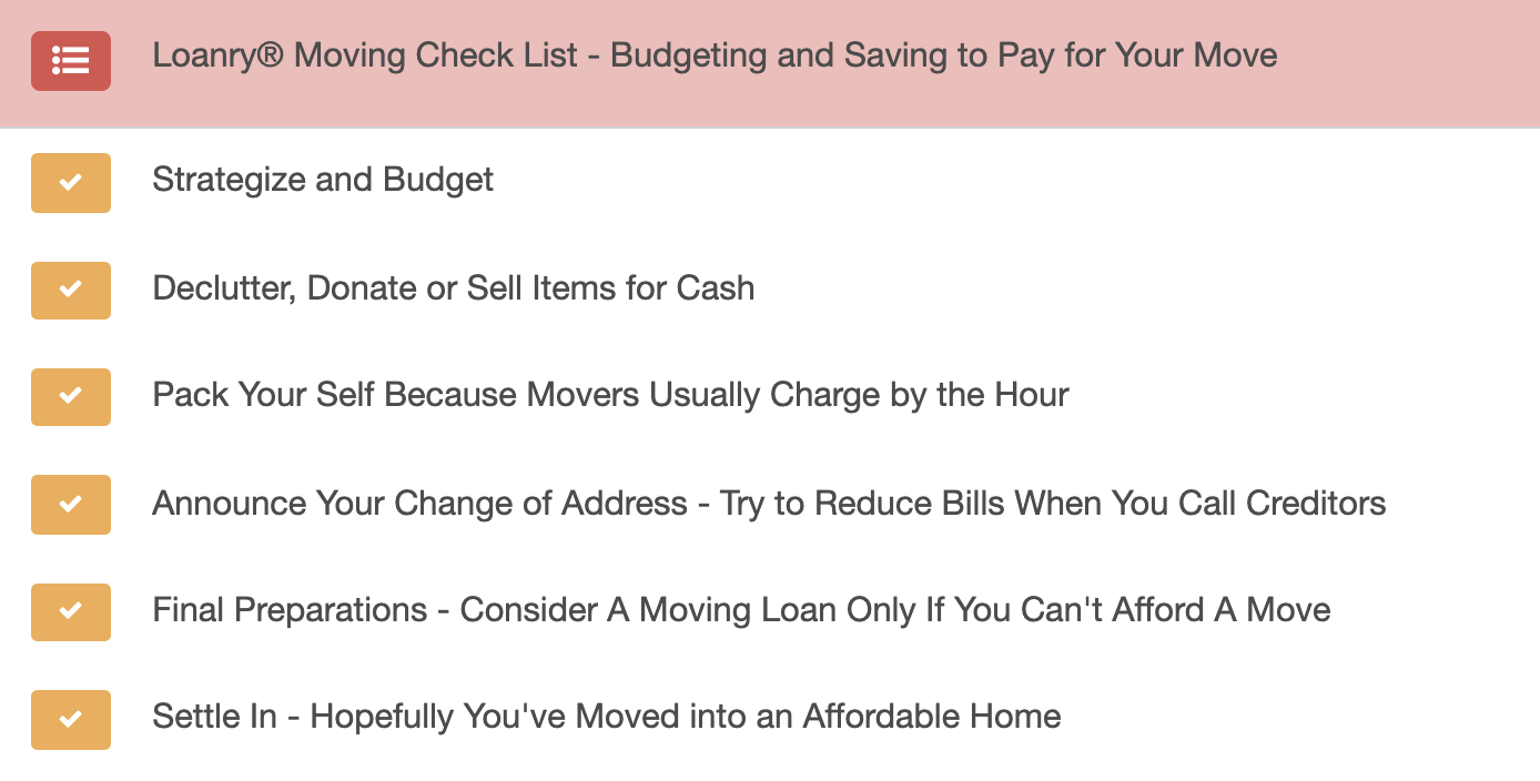 Moving and Savings Checklist