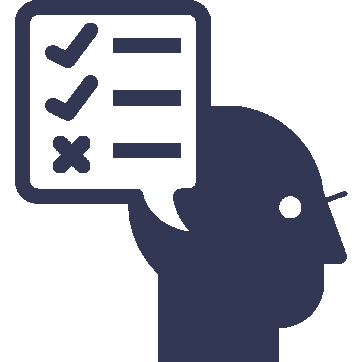 Man with a check list icon
