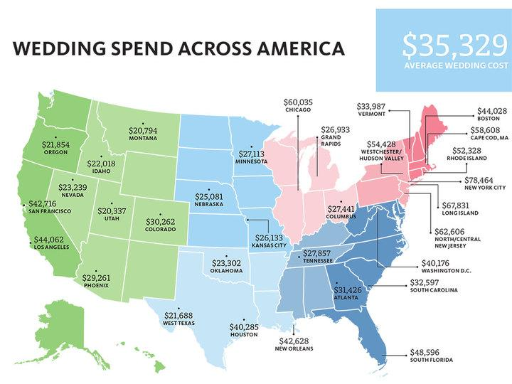 Map of America with average wedding costs marked