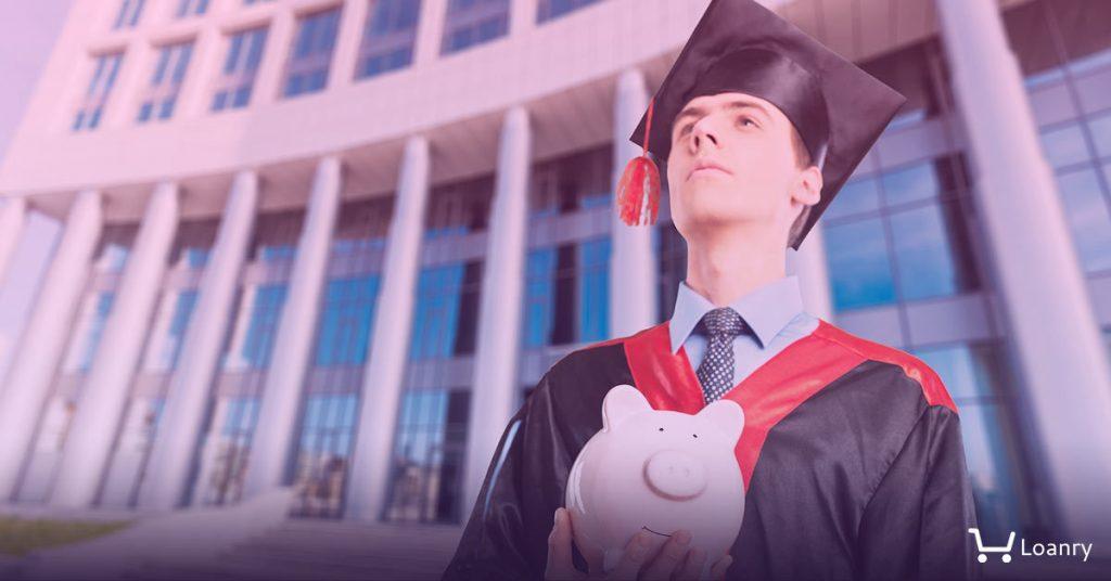 Student holding a piggy bank