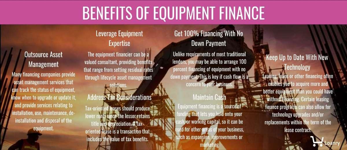 Benefits of equipment finance