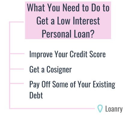 What to do to get a low interest personal loan