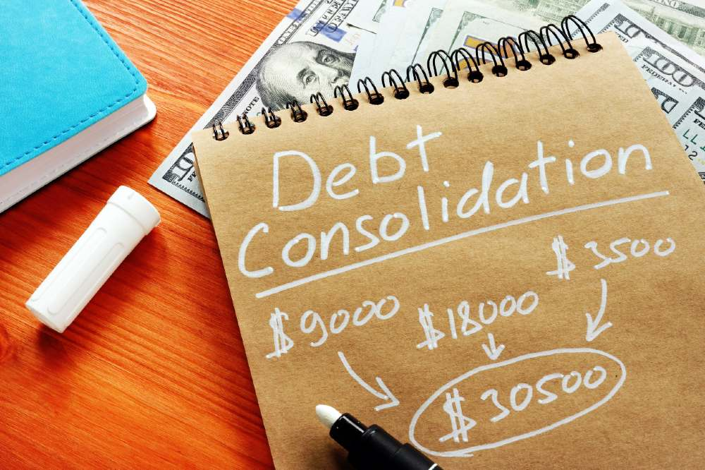 Debt consolidation title with written calculations