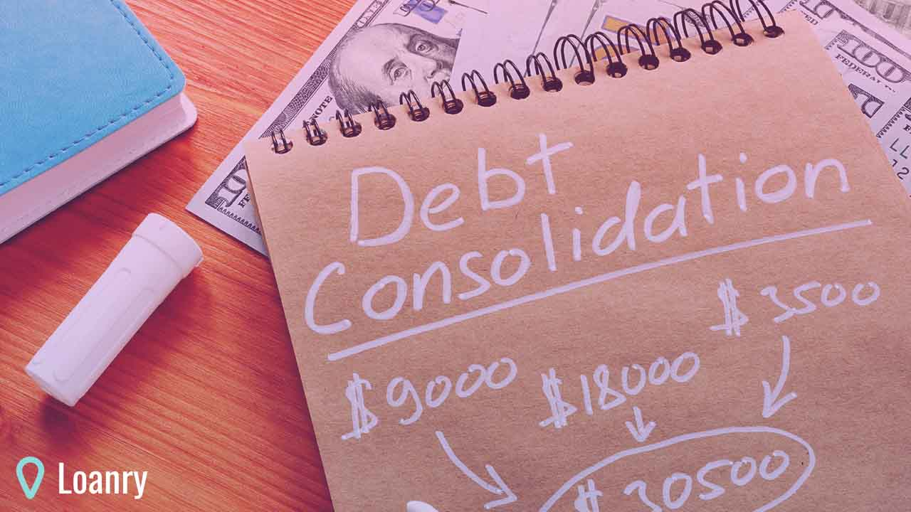 Debt consolidation title with written calculations.
